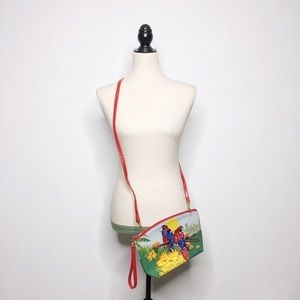 Vintage Parrot Sequined Convertible Crossbody Boho